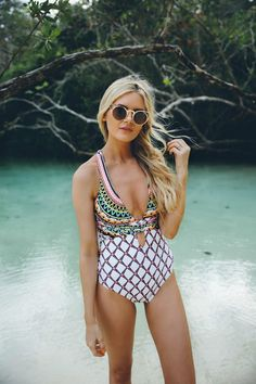 Get smitten with swimwear. {We're smitten with this Trina Turk number worn by Barefoot Blonde}