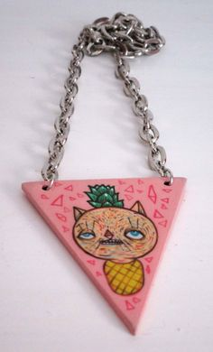 Cat pineapple necklace hand painted  Collana di ValentinaZummo
