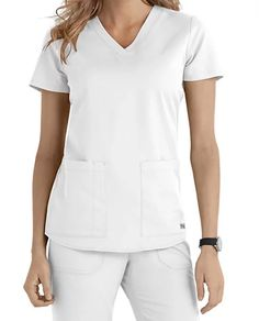 This graceful v-neck top from Grey's Anatomy is a perennial top seller!  The flattering fit and roomy pockets will make it an essential part of your work week attire!  Grey's Anatomy 2 Pocket V-neck Scrub TopsV-neck  Two patch pockets  Side slits  Medium Center Back Length 26