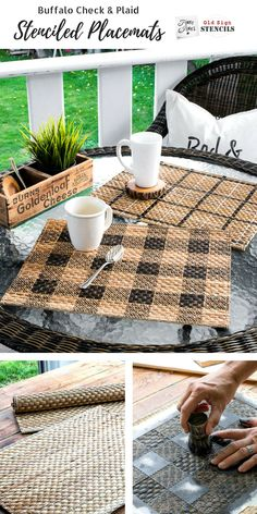 Cozy up plain rattan placemats with Buffalo Check and Plaid Shirt stencils! Easy top coat added for durability. Made with Funky Junk's Old Sign Stencils. Click HERE for tutorial on funkyjunkinteriors.net