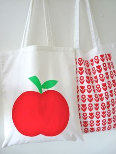 Screen Printed Scandinavian Red Apple Tote Shopper Bags by Jane Foster £10.00
