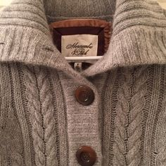 Abercrombie & Fitch wool/cashmere knit sweater M This sweater is gorgeous and in excellent condition! It is 39% wool, 31% rayon, 8% rabbit hair, 12% cashmere. No holes or stains. Very soft! Large brown buttons. Smoke free pet free home. Abercrombie & Fitch Sweaters Cardigans