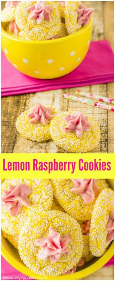 Lemon Raspberry Cookies Recipe - these lemon cake mix cookies are so easy to make and the raspberry buttercream frosting is AMAZING! Lemon Desserts, Lemon Recipes, Cookie Desserts, Just Desserts, Sweet Recipes, Cookie Recipes, Delicious Desserts, Dessert Recipes, Yummy Food