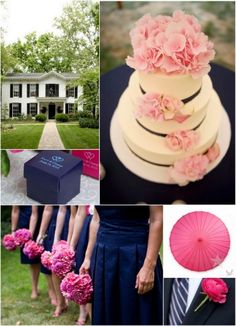 Pink and Navy Blue Wedding Color Ideas