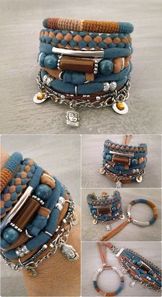 Bohemian bracelet, multi strand gypsy bracelet in teal blue-green and tan honey beige-brown. Boho bracelets stack of crochet tube bangle made using natural linen yarn and color cotton threads with multiple jersey strands, acrylic beads, seed beads, silver tone metal elements, tube,
