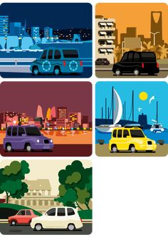 Monocle London Cabs Illustration #Taxi #Vector #illustration