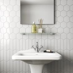 lowes ceramic tile bathroom wall ceramic tiles ceramic tile bathrooms a chevron wall white scale hexagon white bathroom lowes ceramic tile mortar Bathroom Flooring, Bathroom Wall, Bathroom Interior, Modern Bathroom, White Bathroom, Tile Flooring, Bathroom Ideas, White Tile Shower, Tile Bathrooms