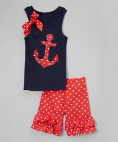 This Navy Anchor Tank & Red Ruffle Shorts - Infant, Toddler & Girls by Beary Basics is perfect! #zulilyfinds
