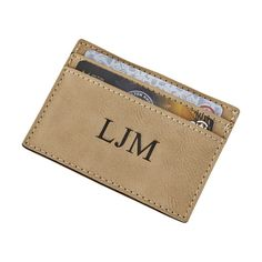 This tan leatherette card case/money clip combo has three slots for your cards on one side and a money clip on the other side. Overall measurements are x but the x space under the card slots offers plenty of room for optional personalization. Groom And Groomsmen, Creative Gifts, Card Case, Your Cards, Money Clip, Card Holder, Space, Accessories, Floor Space