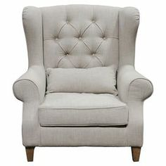 """Wingback arm chair with a beech wood frame and tufted upholstery.   Product: ChairConstruction Material: Beech wood, art silk, linen and polyesterColor: French gray  Features:TuftedIncludes accent pillow Dimensions: 40"""" H x 34"""" W x 43"""" D"""