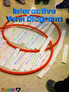 Interactive Venn Diagrams: Keeps students engaged, allows for collaboration, and helps students build mental maps to better understand concepts. A great learning strategy for any content area or grade level! Suddenly I need hula hoops! School Classroom, Classroom Activities, Classroom Ideas, Future Classroom, Teaching Strategies, Teaching Tips, Instructional Strategies, Reading Skills, Teaching Reading