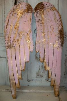 Angel wings large wood metal carved wall sculpture french decor pink shabby chic hanging accents home decor Anita Spero. $180,00, via Etsy.