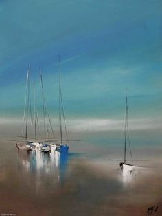 Le temps suspendu... - Painting, 80x2x60 cm ©2015 by Olivier Messas - Contemporary painting, Canvas, Boat, Sailboat, voile, voilier, bateau, segel, sail, sailing, mer, sea, see, blue #OilPaintingBoat