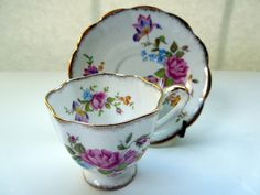 Vintage Royal Standard England Fine Bone China Cup Saucer Pink Roses Flowers Gold