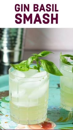 Say hello to your new favorite cocktail - the Gin Basil Smash.  A soft pale green color with a hint of herbs, make it so refreshing and perfect for a garden party!  So easy to make, and so easy to sip! Classic Gin Cocktails, Easy Summer Cocktails, Gin Cocktail Recipes, Gin Lemon, Gin And Tonic, Simple Syrup, Glass Of Milk, Basil, Herbalism