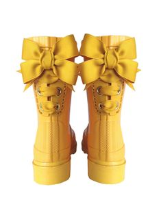 Timber & Tamber Rain Boots Rubber Gumboots Yellow. $47.00, via Etsy. Girl - Fashion - Child - Kids - Gumboots - Rain Boots - Shoes - Bow