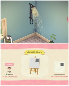 Made a shower drain! Animal Crossing Guide, Animal Crossing Villagers, Animal Crossing Qr Codes Clothes, Animal Crossing Pocket Camp, Shower Drain, Shower Floor, Ac New Leaf, Motifs Animal, Animal Games