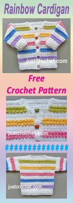 Free baby crochet pattern for rainbow cardigan. Free baby crochet pattern for rainbow cardigan. Crochet Mittens Free Pattern, Crochet Motifs, Free Crochet, Knit Crochet, Crochet Patterns, Booties Crochet, Knitting Patterns, Crochet Hats, Crochet Baby Sweaters