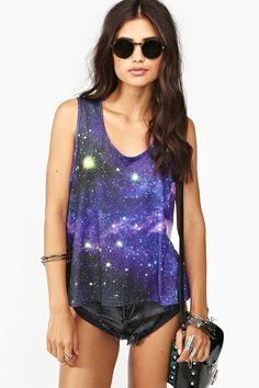 This seems right for a fashionable nerd like myself!    Supernova Tank via Nasty Gal