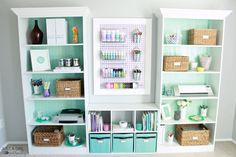 The five essentials of an organized home office by Just a Girl and Her Blog for Operation: Organization 2015 (love the aqua colors!)