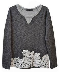 Another great find on #zulily! Black Heather & White Lace Sweatshirt #zulilyfinds