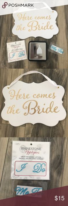 """Wedding Day Essentials 👰🏼💍 Wedding day essentials goodie bag includes """"Here comes the Bride"""" sign (perfect for any child to carry walking swim the aisle), """"I Do"""" and """"Me Too"""" rhinestone appliqués - perfect for your something blue (to go on your shoes), 20 heart shaped tags and """"Mr & Mrs"""" tin box perfect for rings, jewelry, or any small keepsakes. Accessories"""