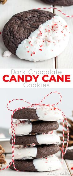 The classic combination of chocolate and peppermint make these Dark Chocolate Candy Cane Cookies the perfect treat for the holidays! Cookie Desserts, Holiday Desserts, Holiday Baking, Holiday Treats, Holiday Recipes, Dinner Recipes, Christmas Dessert Recipes, Healthy Christmas Treats, Christmas Treats For Gifts