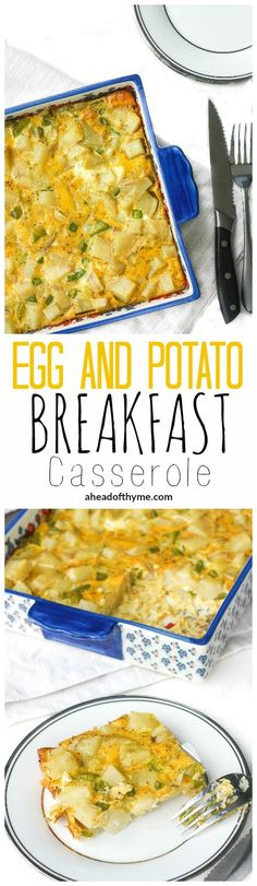 Egg and Potato Breakfast Casserole: Whether you are feeding your own family or entertaining a large number of guests, this vegetarian egg and potato breakfast casserole is a huge hit at brunch   aheadofthyme.com