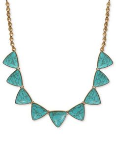 Lucky Brand Necklace, Gold-Tone Turquoise Stone Collar Necklace