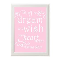 11x14 princess kids wall art - Personalized print  - A dream is a wish your heart makes - Cinderella - disney - Pink or pick the colors