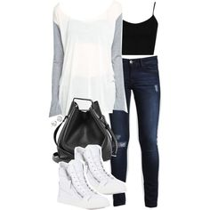 A fashion look from March 2015 featuring Topshop tops, DL1961 Premium Denim jeans and Giuseppe Zanotti sneakers. Browse and shop related looks.