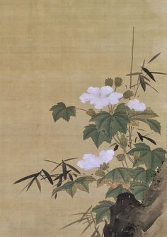 Detail. 土佐光起筆 芙蓉白鷺図 Egrets and Cotton Roses Artist:Tosa Mitsuoki (Japanese, 1617–1691) Period:Edo period (1615–1868) Date:mid- to late 17th century Culture:Japan Medium:Hanging scroll; ink and color on silk