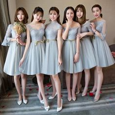 Affordable Grey Summer Bridesmaid Dresses 2018 A-Line / Princess Sash Short Ruffle Backless Wedding Party Dresses Summer Bridesmaid Dresses, Wedding Party Dresses, Summer Dresses, Dress Party, Affordable Dresses, Trendy Dresses, Nice Dresses, Backless Wedding, Kebaya