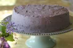 Chocolate Lavender Cake with Lavender Buttercream Frosting. Pinned mainly for the lavender frosting.