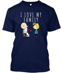I Love My Family  Snoopy, Peanuts... Navy T-Shirt Front