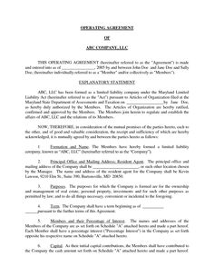Basic LLC Operating Agreement By Jmcinerny   Llc Partnership Agreement  Sample