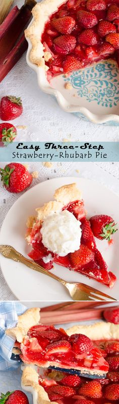 Fresh, tart, chopped rhubarb is boiled in a sugar syrup with strawberry gelatin and a bit of cornstarch. Mix in sliced strawberries and pour into a prebaked pie crust. Chill and serve.