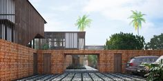 View of the entrance courtyard. A concrete finished boardwalk leads to the Living Room Pavilion Waikiki Wetland Resort, Vengurla - Architecture BRIO, India  #rendering  #laterite #goa