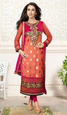 Resemble doll like Karisma Kapoor in this pink and tomato georgette churidar suit. The karachi, patch, polka dotted, resham and stones work appears chic and excellent for any occasion. Churidar Suits, Salwar Kameez, Fancy Suit, Karisma Kapoor, Salwar Suits Online, Lehenga Saree, Straight Cut, Dress Collection, Glamour
