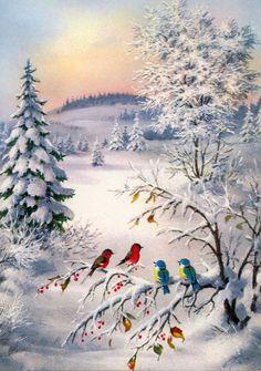 Vintage christmas/winter More Vintage Christmas Images, Retro Christmas, Vintage Holiday, Christmas Scenes, Christmas Past, Winter Christmas, Merry Christmas Greetings, Winter Painting, Winter Art