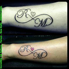 R M Coeur Infinity Tattoos - Tattoos for women Simple Hand Tattoos, Hand Tattoos For Guys, Tattoos For Women Small, Small Tattoos, Name Tattoo On Hand, Initial Tattoo, Name Tattoos, Moon Tattoos, Ink Tattoos