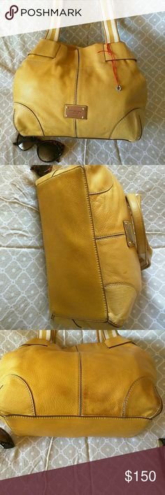 100? Authentic MK leather bag Lovely Muster yellow  bag  Pre loved, some stain on bag from my dress. Still an excellent condition.in side very little pen Mark Michael Kors Bags Shoulder Bags