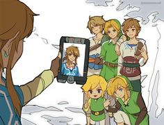 Shame on you Link. XD BotW with past Links.
