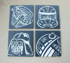 star wars art . 4 - 12x12 canvases . millennium falcon, darth vader, storm trooper, R2D2 or yoda.