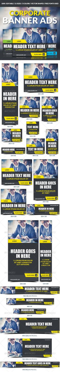 Buy Corporate Banner Ad Set by red_zebra on GraphicRiver. Multipurpose Marketing Banner Ads Business banner ad set ideal for your next online campaign. Suitable for: Corporate. Web Banner Design, Web Banners, Banner Template, Flyer Template, Digital Campaign, Facebook Banner, Display Ads, Google Ads, Web Design Inspiration