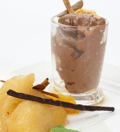 Peras con chocolate #receta #light #chocolate
