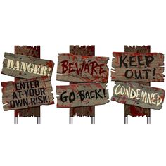 """3 Creepy Sidewalk Signs For Halloween 12"""" x 9"""" from Buycostumes.com"""