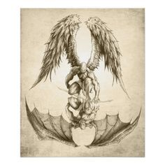 Angels and Demons - Reflection Poster Sexy Tattoos, Body Art Tattoos, Sleeve Tattoos, Tatoos, Feminine Tattoos, Pretty Tattoos, Arm Tattoos, Temporary Tattoos, Kunst Tattoos
