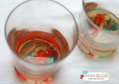 DIY Marbled Glassware Using Nail Polish - Todays Creative Blog