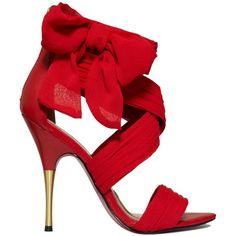 Paris Hilton Shoes, Selene Bow Evening Sandals by None, via Polyvore